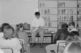 Paul Yee speaking with students at Killarney Secondary School library