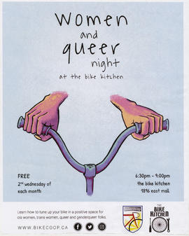 Women and queer night at the bike kitchen : free : 2nd Wednesday of each month