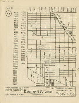 Sectional map and street directory of Vancouver, British Columbia : [Trafalgar Street to Sixteent...