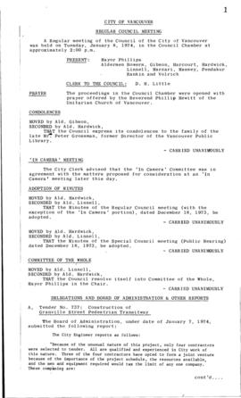 Council Meeting Minutes : Jan. 8, 1974