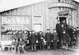[Soldiers in front of the 260th Battalion canteen]