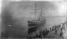 "[Crowds watching C.P.R. ship ""Abyssinia"" leave dock at foot of Granville and Howe Streets]"