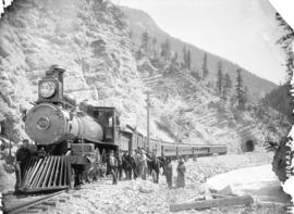 Pacific Express in Kicking Horse Canyon. C.P.R., near Golden