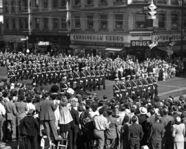 Armed forces marching in 1947 P.N.E. Opening Day Parade