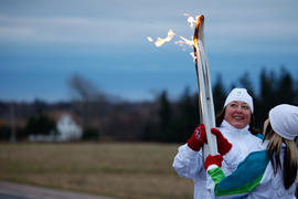 Day 23 Torchbearer 14 Wendy Dick passing the flame to Torchbearer 15 Danielle Yuzik in Cherry Val...