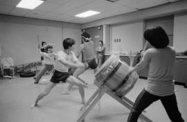 Katari Taiko members at a practice session at Strathcona Community Centre