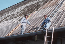 Malcolm McIntyre [two men on roof]