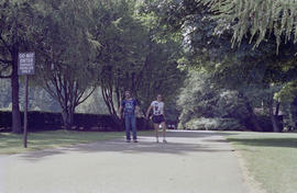 Centennial employees walking on path at Stanley Park
