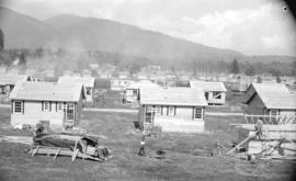 [View of houses being built as part of a shipyard housing program in North Vancouver]