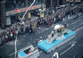 43rd Grey Cup Parade, on Granville Street, Canadian Pacific Airlines float , ticker tape, and spe...