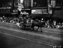 R.C.N. Recruiting Unit horse-drawn cart in 1953 P.N.E. Opening Day Parade