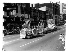 Seattle City Light and Seafair float in 1956 P.N.E. Opening Day Parade