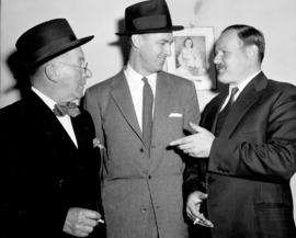 [Mr. Fleishman, Mr. Munro and Mr. Bray take a cigarette break at the police probe]