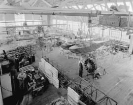 "Boeing Aircraft Co. of Canada, flying boat production room showing construction of C204 ""Thu..."