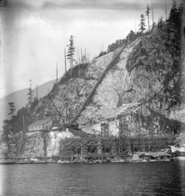 [Partially constructed Buntzen Lake Power Plant number two from Indian Arm]