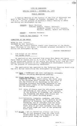 Special Council Meeting Minutes : Nov. 26, 1974