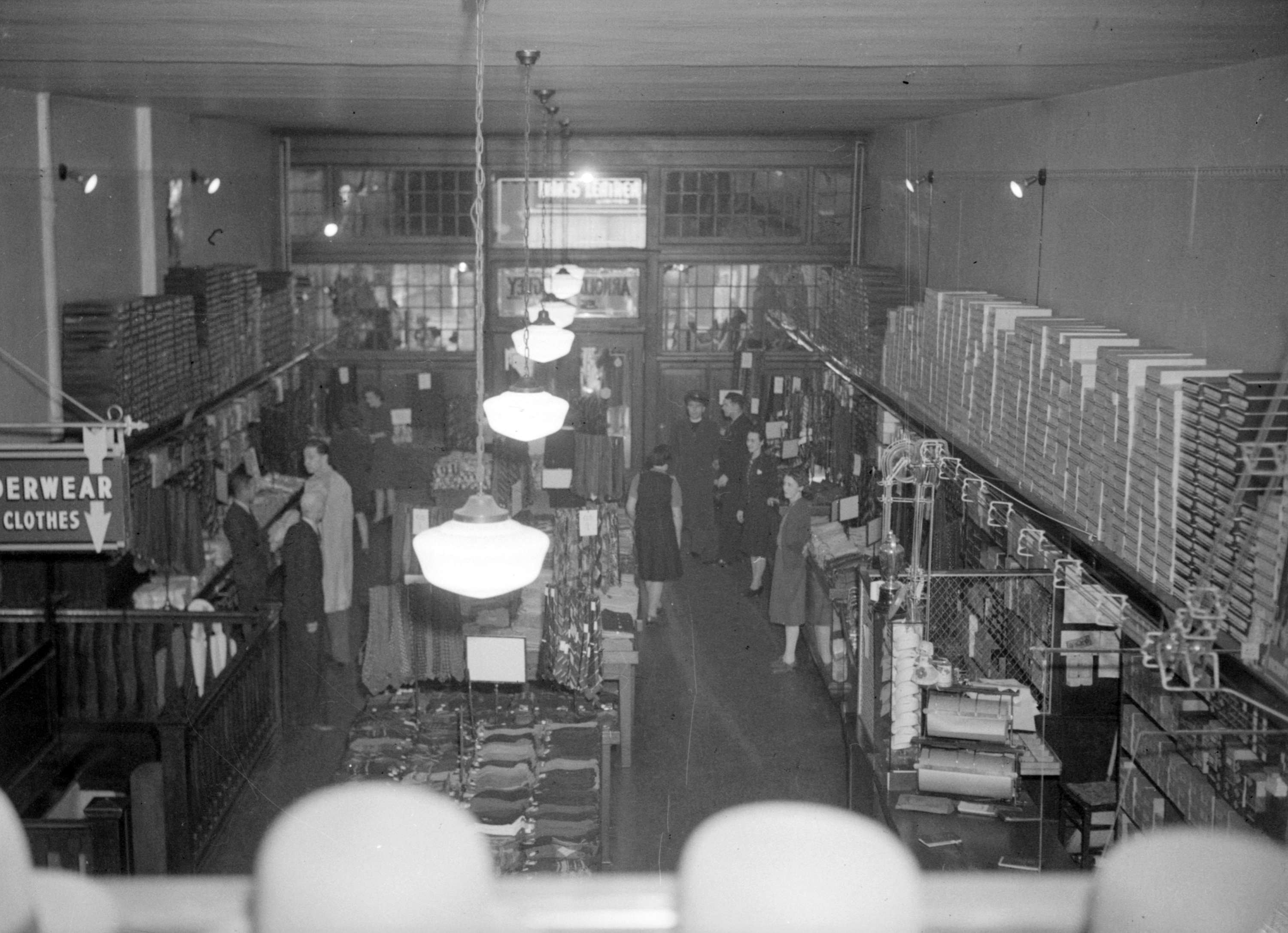 Interior of Arnold & Quigley, Ltd., mens and boys clothing store