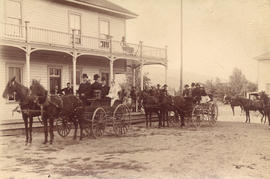 [Newlyweds Mr. and Mrs. Thomas William Fletcher leave the Lambley Brothers' (Enderby) Hotel ...