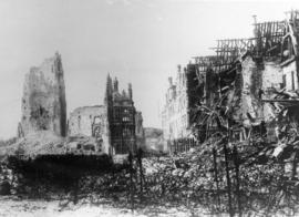 Part of the Square at Arras showing one of the ruined churches