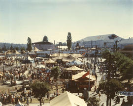 View of cafeteria and surrounding tents on P.N.E. grounds