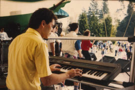 Keyboardist performing on stage