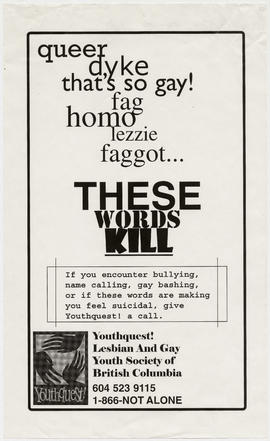 Queer, dyke, that's so gay, homo, lezzie, faggot . . . these words kill : Youthquest! Lesbian and...