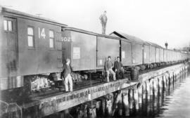 [First train load of canned salmon leaving Vancouver from the C.P.R. dock at the foot of Richards...
