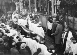 [Archbisop of New Westminster A.U. DePencier officating at the cornerstone ceremony for St. James...