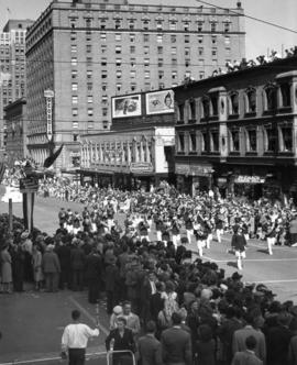 Marching band in 1947 P.N.E. Opening Day Parade