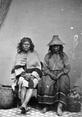 [Studio portrait of two unidentified First Nations people]
