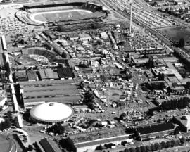 Aerial photograph of P.N.E. grounds, including Agrodome, Livestock building, Pacific Showmart