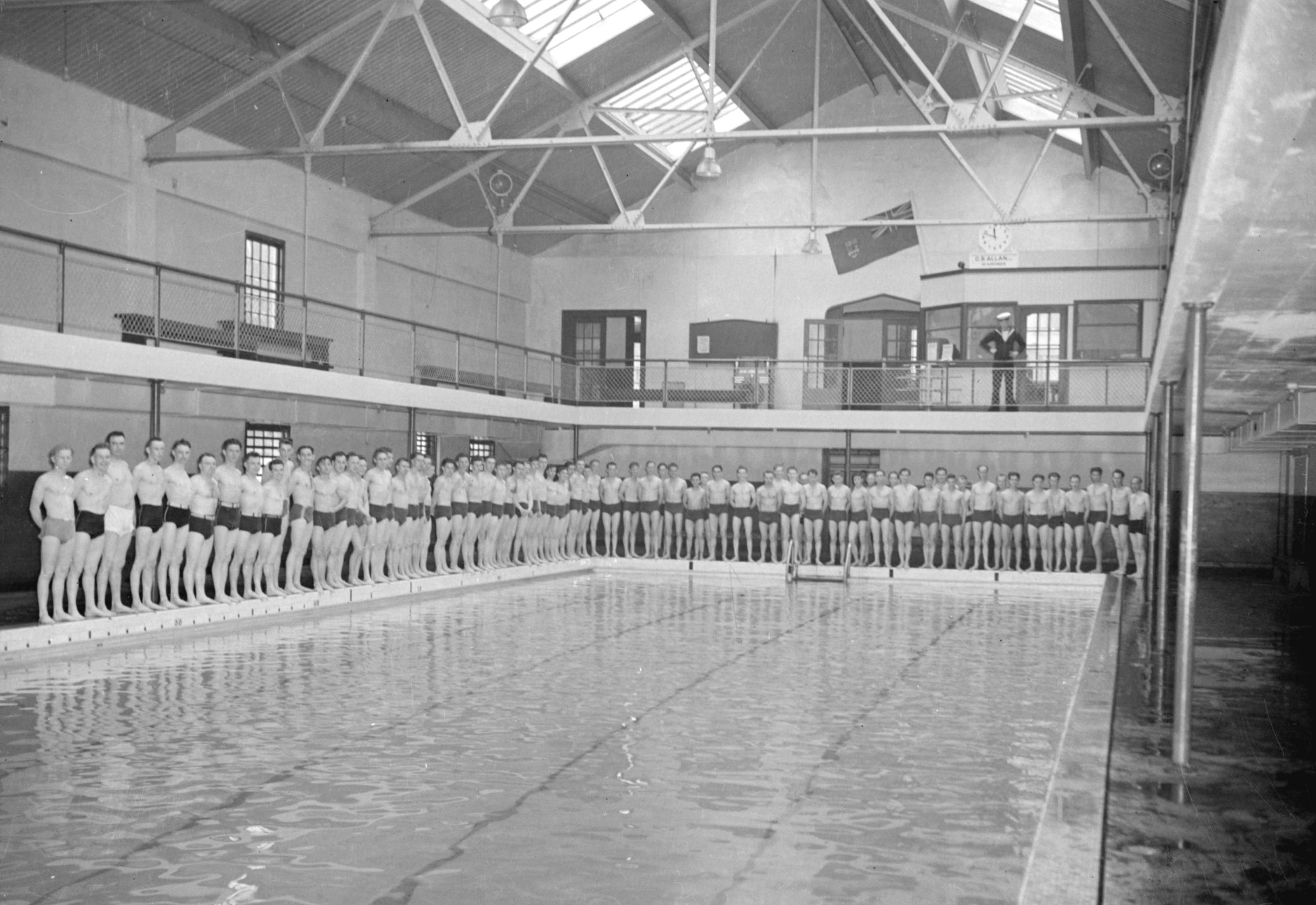 Swimmers Lined Up Around Edge Of Indoor Swimming Pool City Of Vancouver Archives