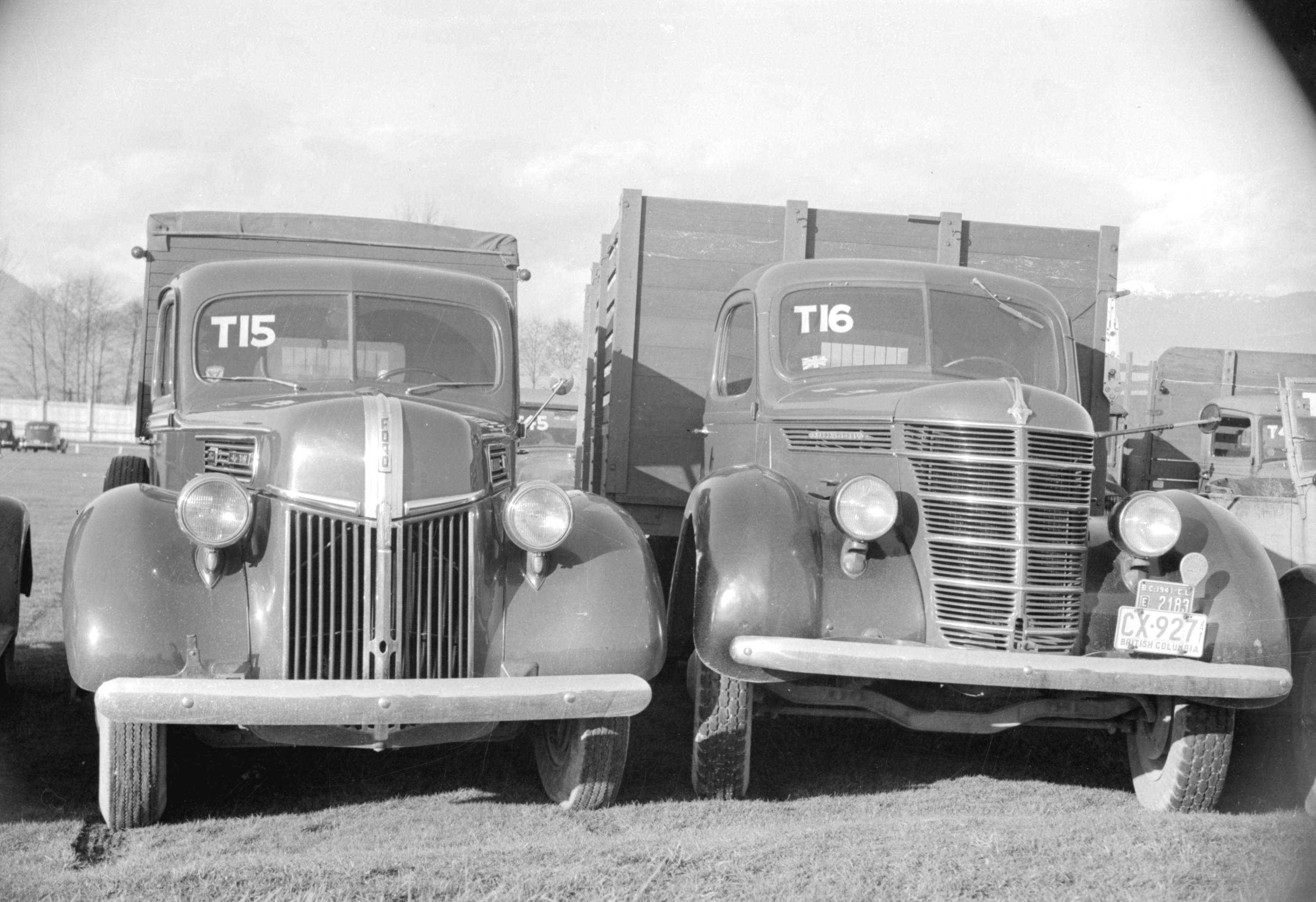 Two trucks, confiscated from Japanese nationals, at Hastings Park; AM1184-S3-: CVA 1184-87