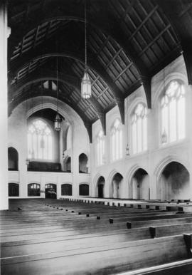 Looking south-west arcade aisle and echo organ loft [St. Andrew's Wesley United Church]