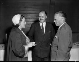 M. Avery, R. Bonner, and A.W. Gross at unveiling ceremony for Challenger relief map of British Co...