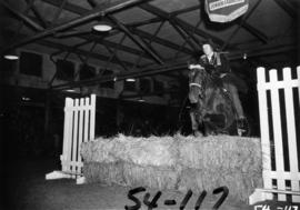 Horse and young rider jumping fence during show in Livestock building