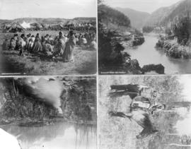 [Four views showing Blackfeet and Stoney Indians, Spuzzum Bridge and Devil's Head Canyon and...