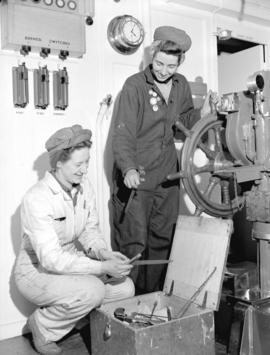 Burrard Shipyard - [left to right] Ena Spracklin and Shirley Ware - Electrician's helpers
