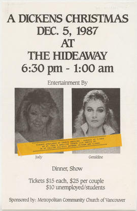 A Dickens Christmas : Dec. 5, 1987 at The Hideaway : entertainment by Judy [and] Geraldine : dinn...
