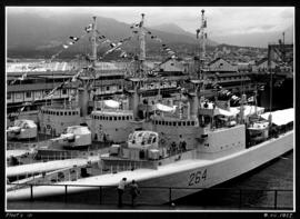 Fleet's in [3 Canadian Navy ships in dock]