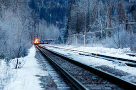 Day 90 CP Rail train arrives at Craigellachie's Last Spike in British Columbia.