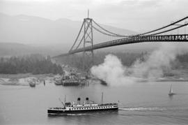 "[""Lady Cecilia"" or ""Lady Cynthia"" passing under the Lions Gate Bridge]"
