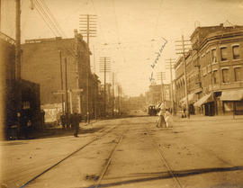 [Looking west on Hastings Street from Carrall Street]