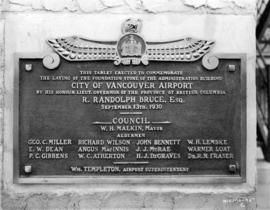 [Commemoration plaque for the airport administration building]