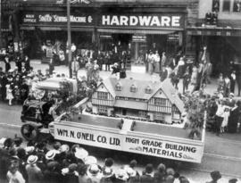 [The William N. O'Neil Company Limited float in the 600 Block of Granville Street during a V...