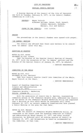 Council Meeting Minutes : Feb. 8, 1977
