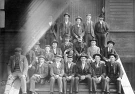 [Men who enlisted in the 5th Canadian Mounted Rifles on the drill house steps prior to leaving fo...
