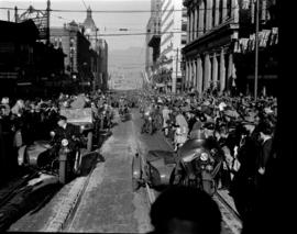 [Military parade and crowds along Granville Street]
