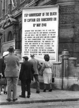 [Sign regarding the 150th Anniversary of Captain George Vancouver outside the town hall]