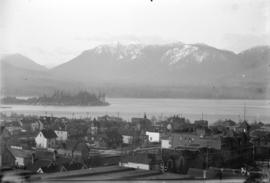 [View of downtown Vancouver, part of Stanley Park, and North Shore mountains, from the roof of th...